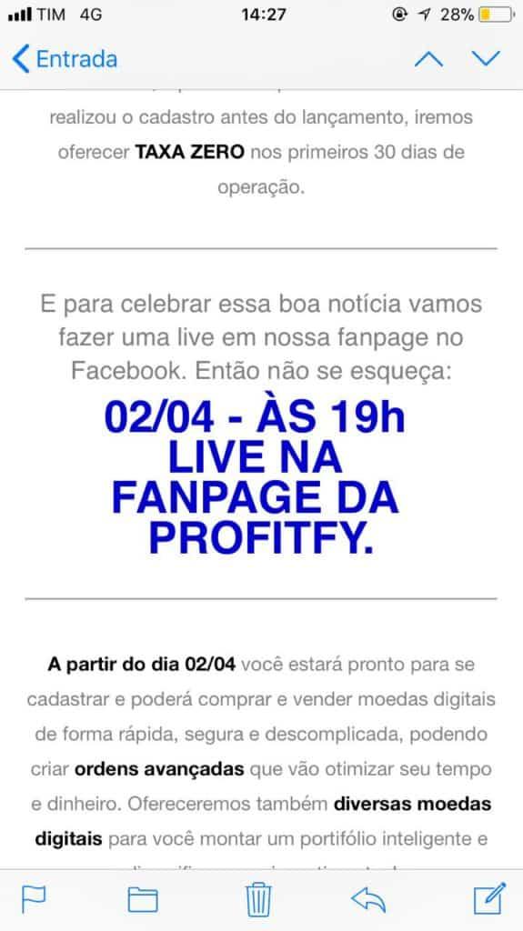 Exchange Profitfy será lançada dia 02/04