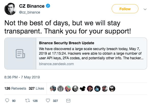 Tweet do CEO da Binance falando sobre o ataque hacker