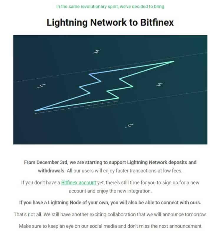 exchange Bitfinex anunciou a adoção de mais uma tecnologia ligada ao Bitcoin, a Lightning Network.