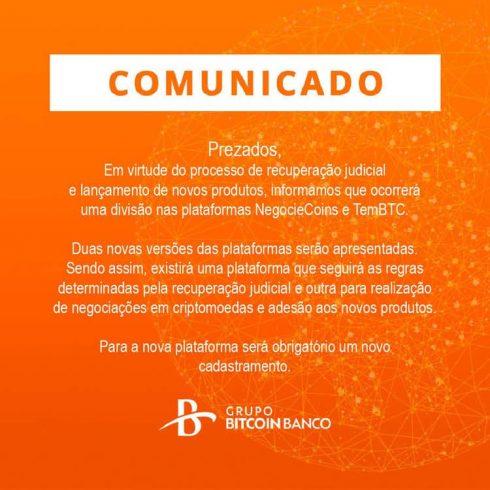 comunicado Grupo Bitcoin Banco