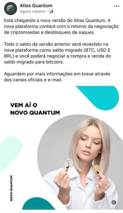 Comunicado da Atlas Quantum nas redes sociais