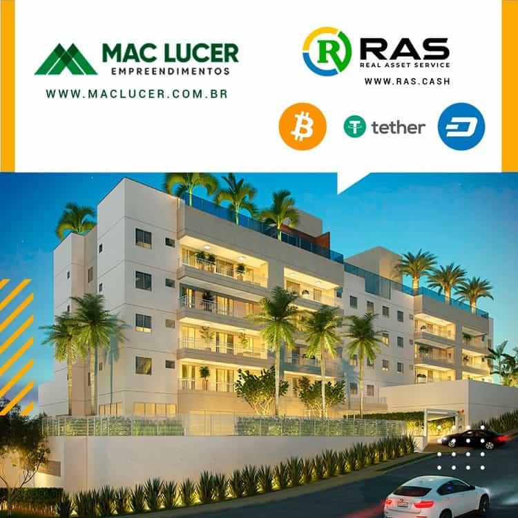 A imagem exibe um dos novos empreendimentos da Mac Lucer, o Condomínio Olivio Boa em Jundiaí, e as criptomoedas ao lado da imagem