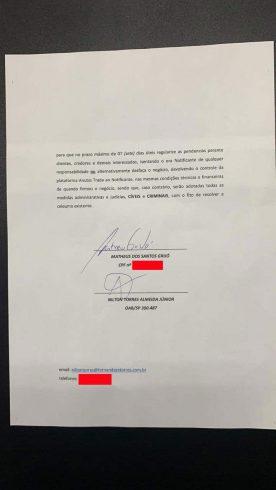 notificação e as assinaturas de Matheus Grijó e seu advogado