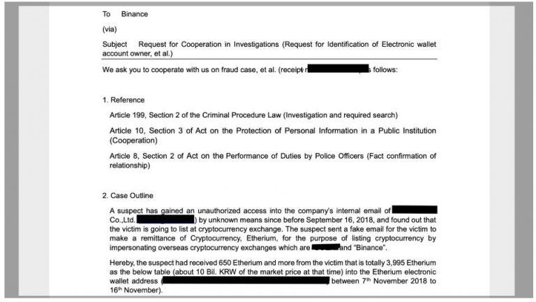 """A exchange também compartilhou na nota as capturas de tela da comunicação da agência policial coreana com a Binance, intitulada """"Solicitação de cooperação em investigações""""."""