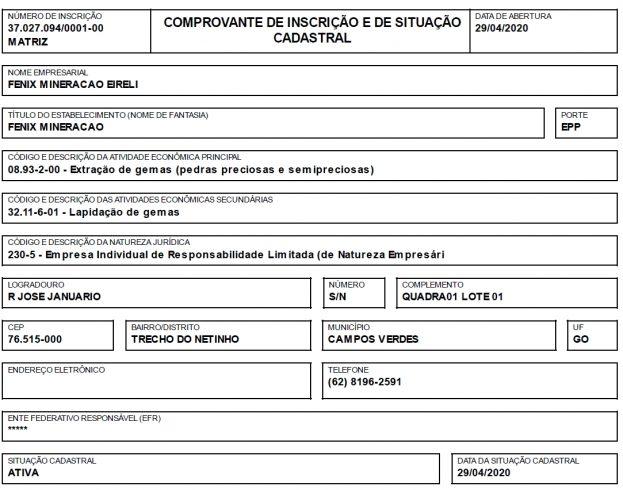 """""""Fenix Mineração"""", a empresa conta com um capital social de R$ 300 mil."""