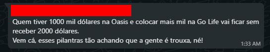 Cliente da Oasis Mercosul se revolta