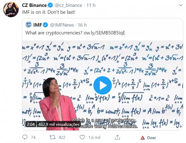 CZ Binance comenta o vídeo do FMI