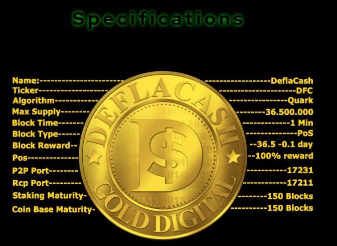 Especificações e informações técnicas da Deflacash (DFC).