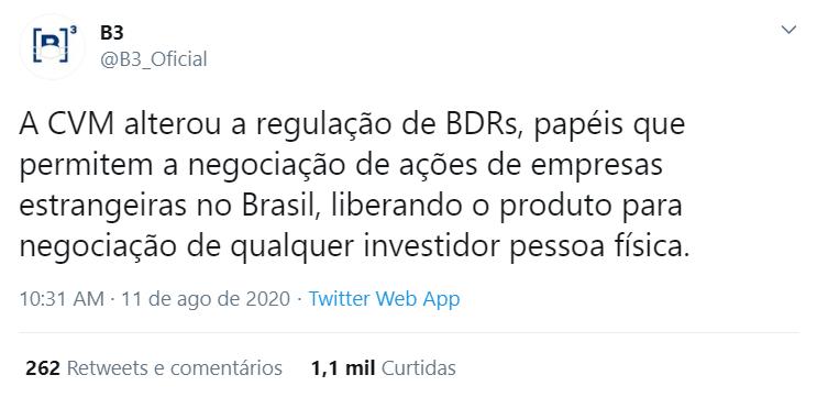 Tweet da B3 Bovespa sobre a liberação da CVM