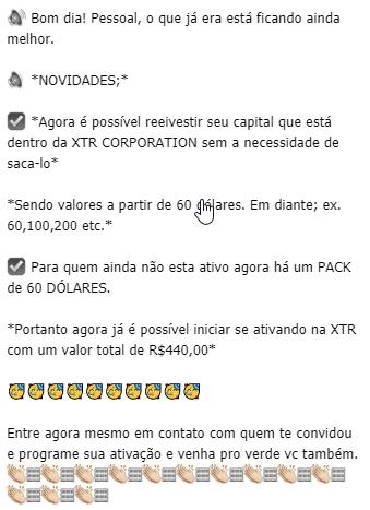 XTR reduz valor para ativação