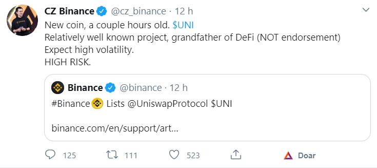 CEO da Binance fala sobre o Token da Uniswap