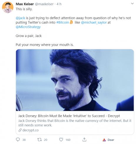 Max Keiser critica Jack Dorsey no Twitter