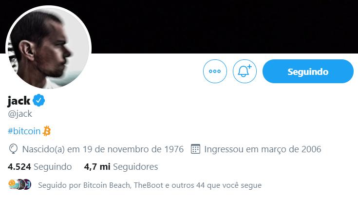 Perfil de Jack Dorsey no Twitter