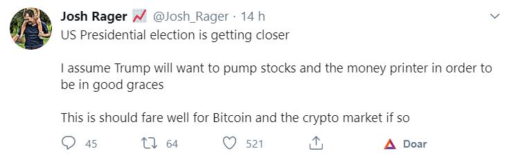 Tuíte de Josh Rager sobre Trump e o BTC
