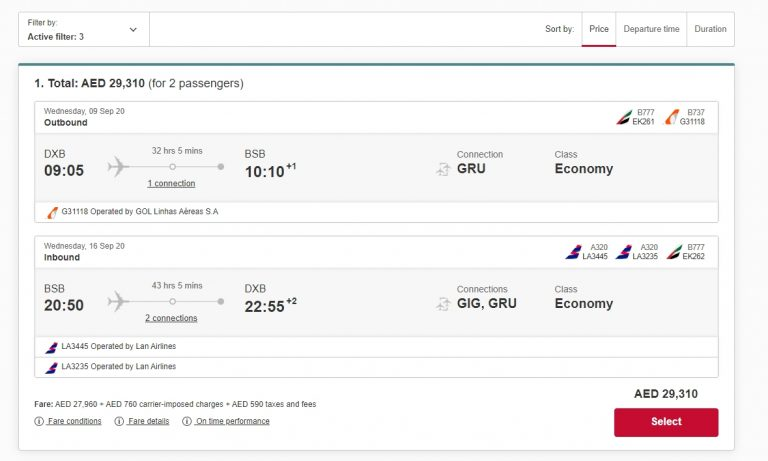 Viagem para o Brasil a partir da Emirates