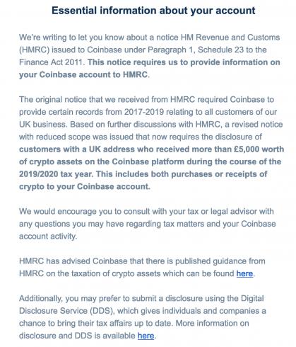 E-mail da Coinbase aos clientes do Reino Unido [Decrypt]