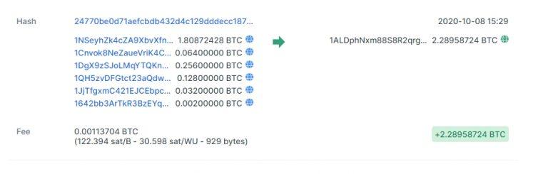 BTC recebidos em golpe de ransomware