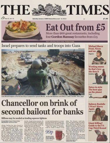 A primeira página do jornal The Times de 3 de janeiro de 2009