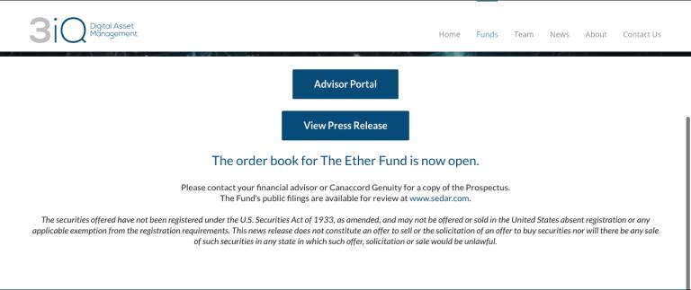 Lançamento do The Ether Fund