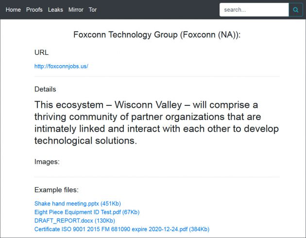 Mensagem deixada pelos hackers após ataque à Foxconn