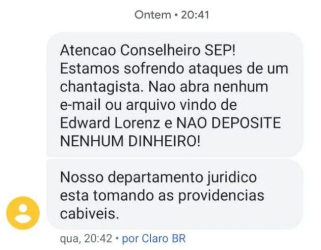 SMS enviado aos conselheiros do Palmeiras