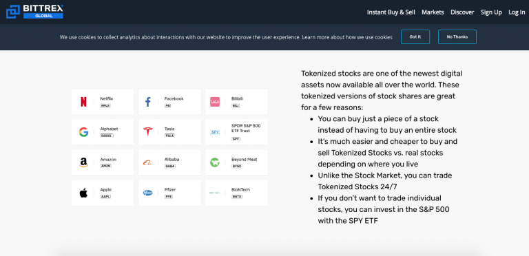 Ações negociadas pela Bittrex Global