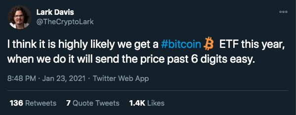 Lark Davis mostra otimismo com ETF de Bitcoin