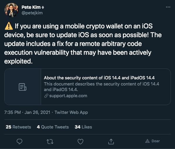 Desenvolvedor da Coinbase alerta para riscos de iOS desatualizado