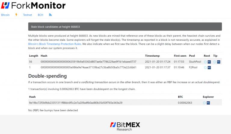 Identificação da transação de gasto-duplo no Bitcoin.