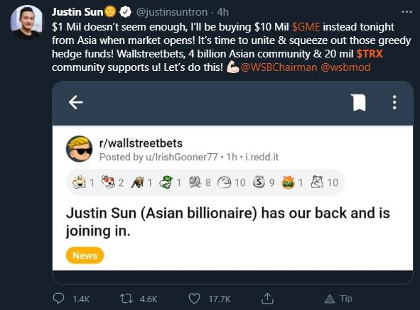 Justin Sun anuncia suposta compra de US$ 10 milhões em ações da GameStop