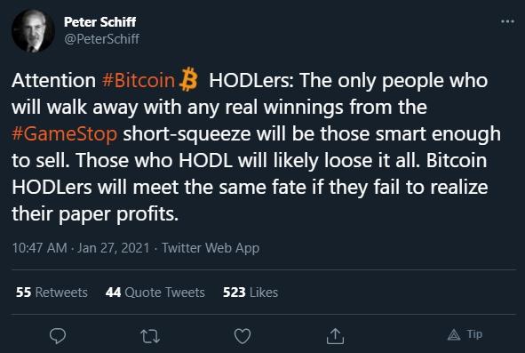 Peter Schiff traça paralelo entre Bitcoin e ações da GameStop