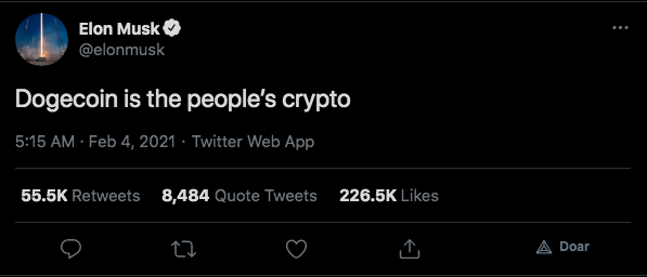 Musk volta a aclamar DOGE no Twitter