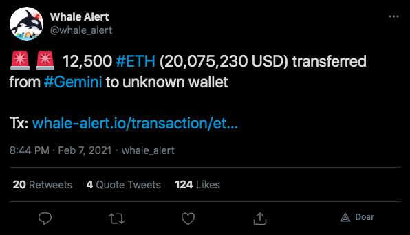 Investidor retira mais de 12 mil ETH de exchange
