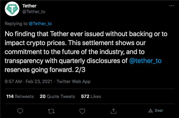 Tether comemora decisão e reforça compromisso com a transparência. Fonte: Tether/Twitter.