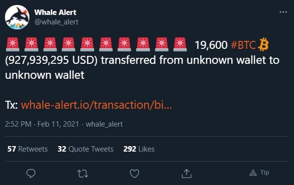 Movimentação bilionária de Bitcoin