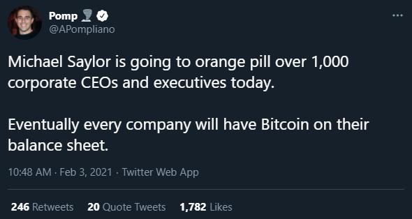 Anthony Pompliano está otimista sobre corporações ouvindo sobre Bitcoin