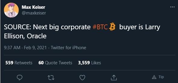 Max Keiser afirma que CEO da Oracle vai comprar Bitcoin
