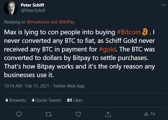 Peter Schiff responde Max Keiser