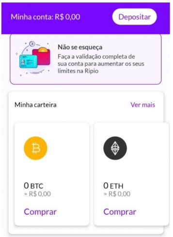 Depósito e compra de Bitcoin no aplicativo