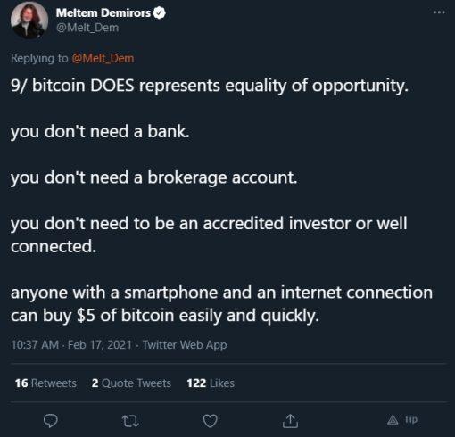 Meltem Demirors defende o Bitcoin. Fonte: Meltem Demirors/Twitter