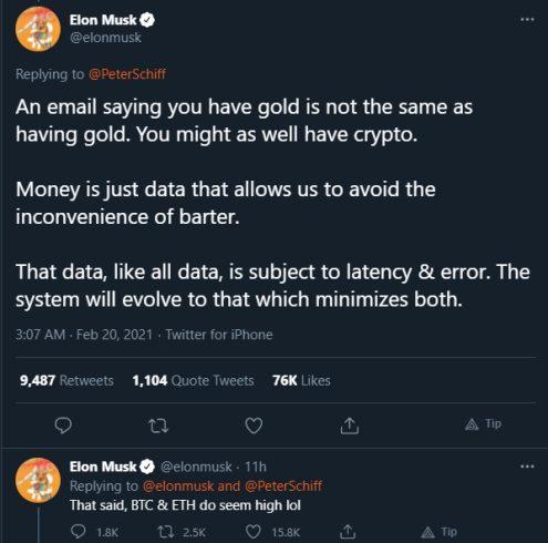 Elon Musk disse que BTC e ETH estão altos. Fonte: Elon Musk/Twitter