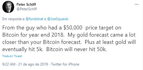 Em 2019, Schiff disse que o BTC nunca chegaria a 50 mil.