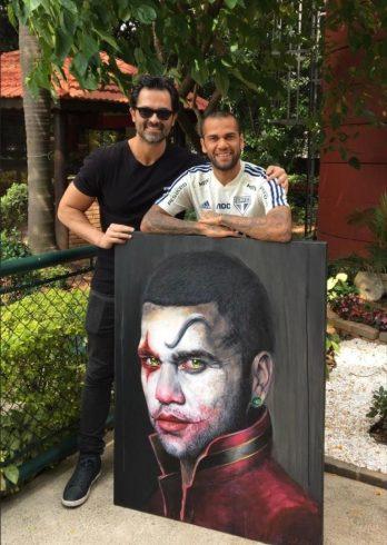 Pintura de Fernando Quevedo presenteada a Daniel Alves. Fonte: Fernando Quevedo
