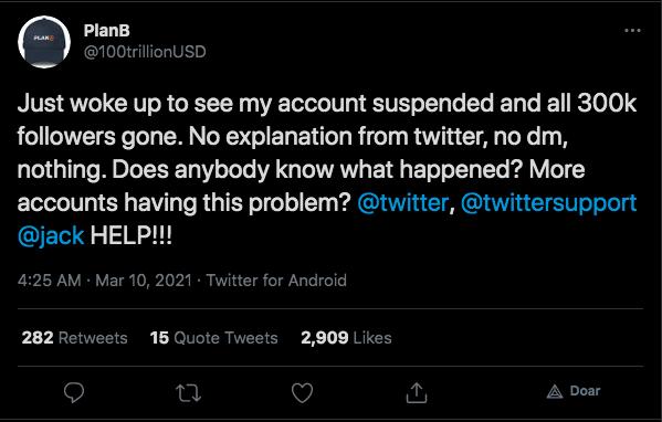 PlanB demonstra surpresa com suspensão de sua conta. Fonte: Twitter.