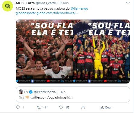 Moss anuncia patrocínio ao Flamengo. Fonte: Moss/Twitter