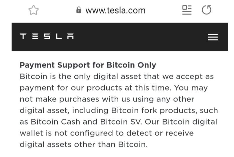 Tesla ressalta: pagamentos apenas com o verdadeiro Bitcoin. Fonte: site oficial.