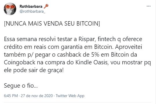 Investidora brasileira comprova que é possível pagar um produto com o valor do seu próprio cashback em BTC. Fonte: Rothbarbara/Twitter