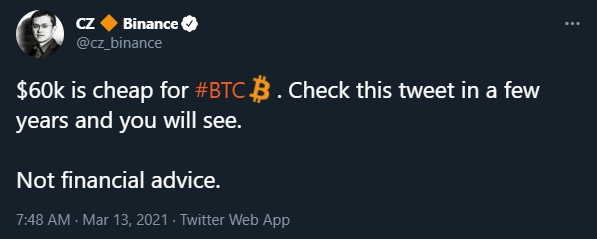 CEO da Binance fala sobre preço do Bitcoin. Fonte. Changpeng Zhao/Twitter