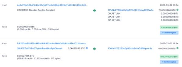 Exemplo de hashes de transações contidas em um bloco. Fonte: Blockchain.com