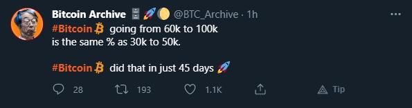 Bitcoin Archive fala sobre possível movimentação do Bitcoin. Fonte: Bitcoin Archive/Twitter